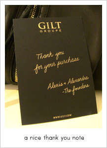 gilt thank you note